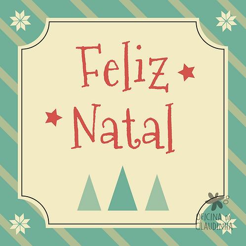 Card Feliz Natal 01 - Vintage Azul