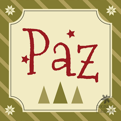 Card Natal 02 - Paz - Vintage Vermelho e Verde