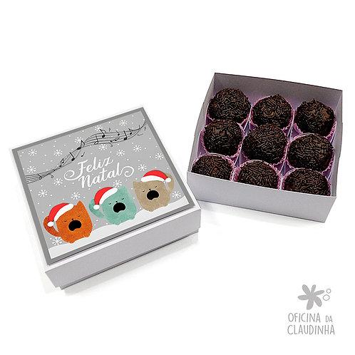 Caixa para 9 doces - Gatinhos Natalinos