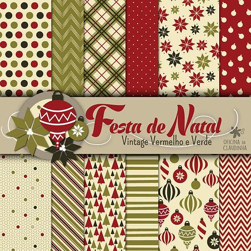Festa de Natal - Vintage | Papéis digitais