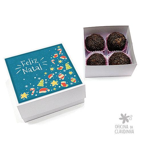 Caixa para 4 doces - Natal Azul