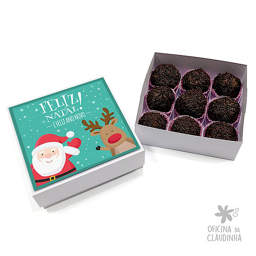 Caixa para 9 doces - Papai Noel e Rena