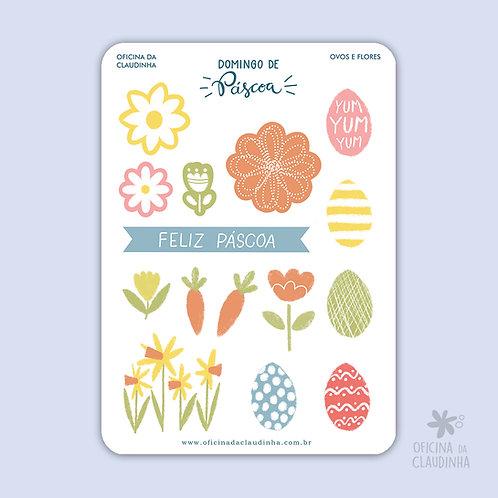 Domingo de Páscoa - Ovos e Flores   Recortes digitais