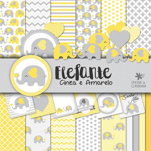 Elefante cinza e amarelo   Papéis digitais