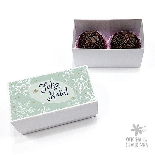 Caixa para 2 doces - Flocos de Natal