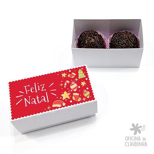 Caixa para 2 doces - Natal Vermelho