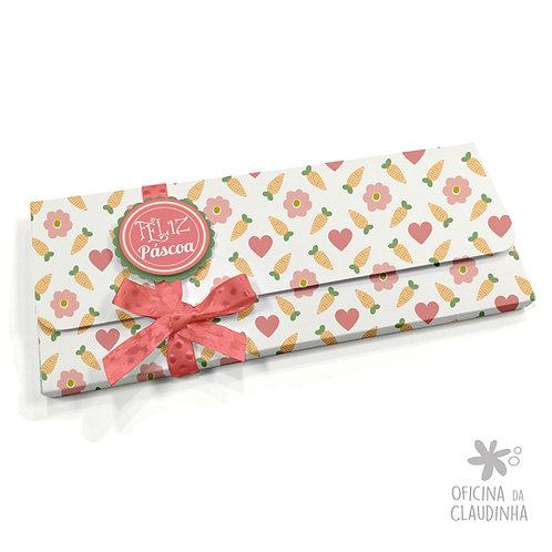 Caixa para 1 barra de chocolate - Corações e Cenouras