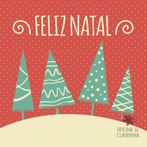Card Feliz Natal 04 - Vintage Azul