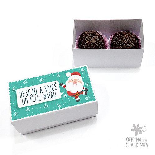 Caixa para 2 doces - Papai Noel Turquesa