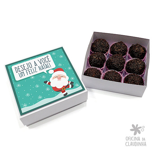 Caixa para 9 doces - Papai Noel Turquesa