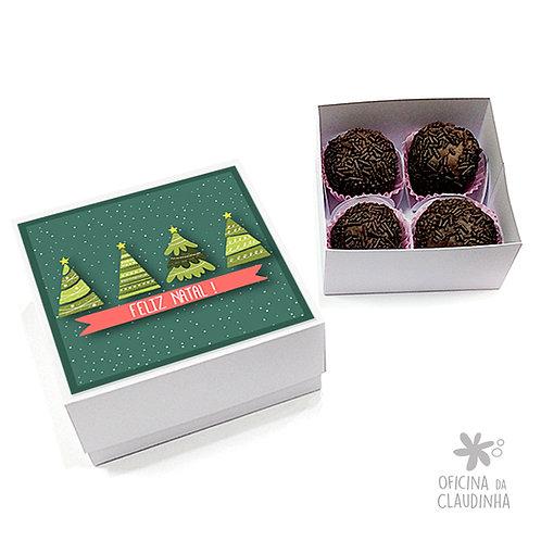 Caixa para 4 doces - Árvores de Natal