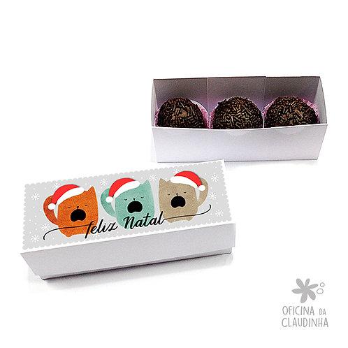 Caixa para 3 doces - Gatinhos natalinos
