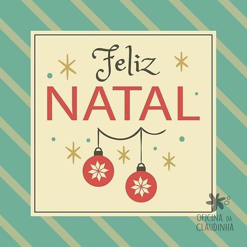 Card Feliz Natal 08 - Vintage Azul