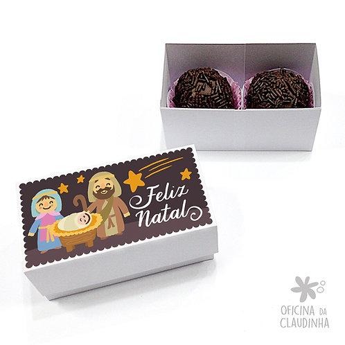 Caixa para 2 doces - Cena Natalina