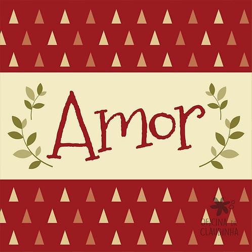 Card Natal 03 - Amor - Vintage Vermelho e Verde