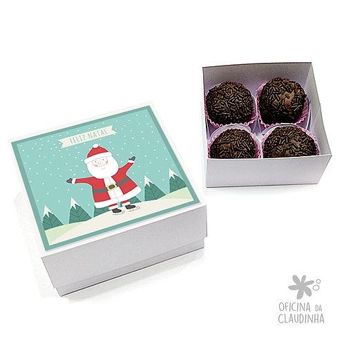 Caixa para 4 doces - Papai Noel Feliz