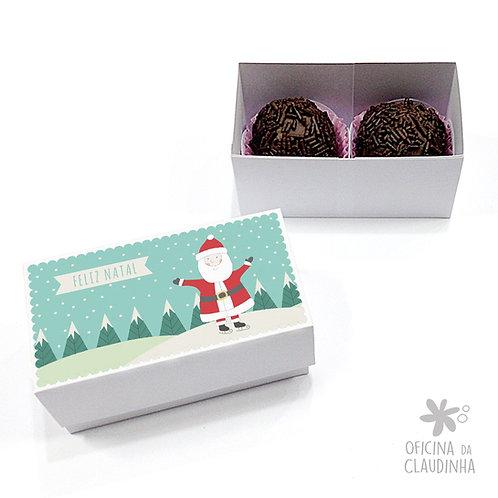 Caixa para 2 doces - Papai Noel Feliz