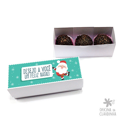 Caixa para 3 doces - Papai Noel turquesa feliz