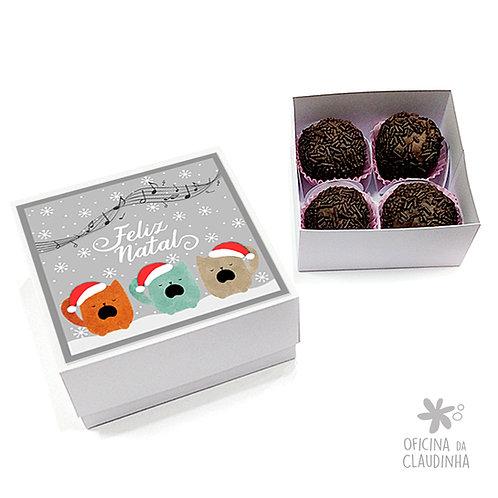Caixa para 4 doces - Gatinhos natalinos