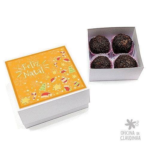 Caixa para 4 doces - Natal Amarelo