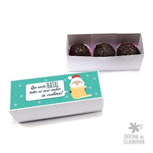 Caixa para 3 doces - Papai Noel realiza sonhos