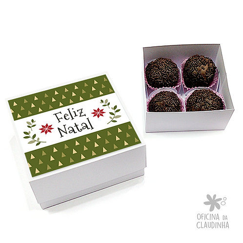 Caixa para 4 doces - Festa de Natal 03 - Tradicional