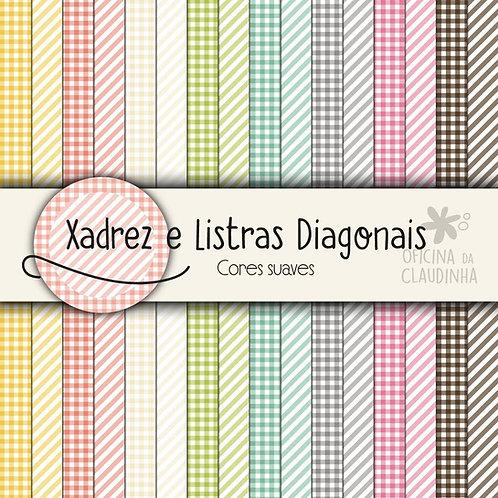 Xadrez e listras diagonais - Cores Suaves | Papéis impressos