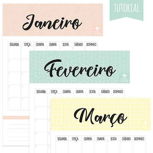 Calendário/Planner Mensal 2018