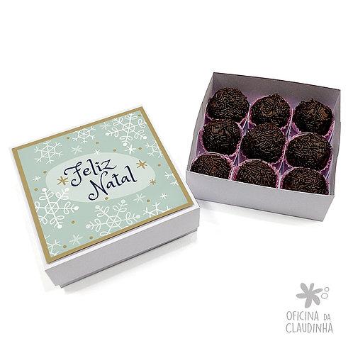 Caixa para 9 doces - Flocos de natal