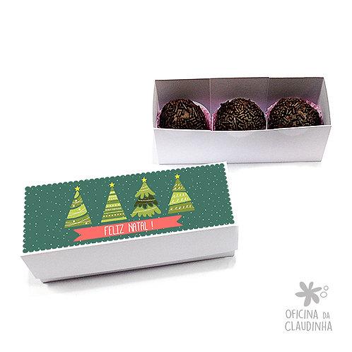 Caixa para 3 doces - Árvores de Natal