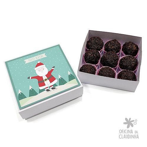 Caixa para 9 doces - Papai Noel Feliz