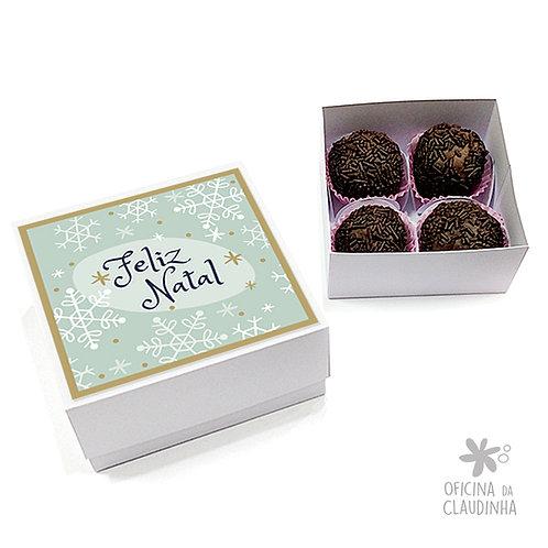Caixa para 4 doces - Flocos de Natal