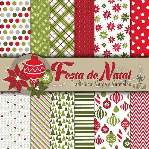 Festa de Natal - Tradicional | Papéis digitais