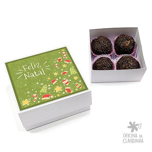 Caixa para 4 doces - Natal Verde