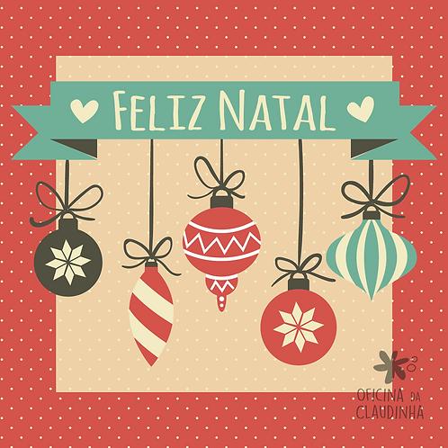 Card Feliz Natal 07 - Vintage Azul