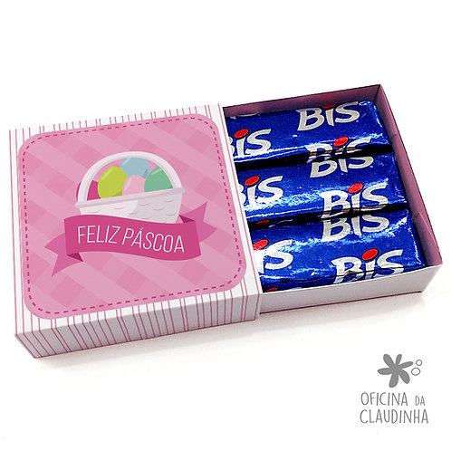 Caixa de Páscoa para 3 Bis - Cesta Rosa