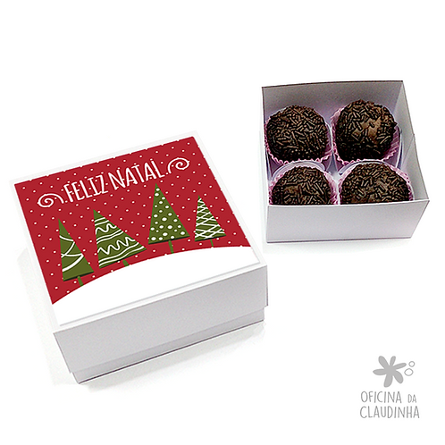 Caixa para 4 doces - Festa de Natal 04 - Tradicional