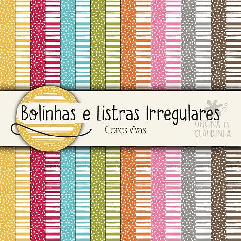 Bolinhas e listras irregulares - Cores vivas | Papéis impressos