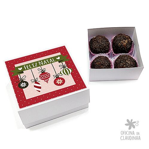 Caixa para 4 doces - Festa de Natal 07 - Tradicional
