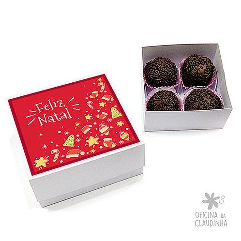 Caixa para 4 doces - Natal Vermelho