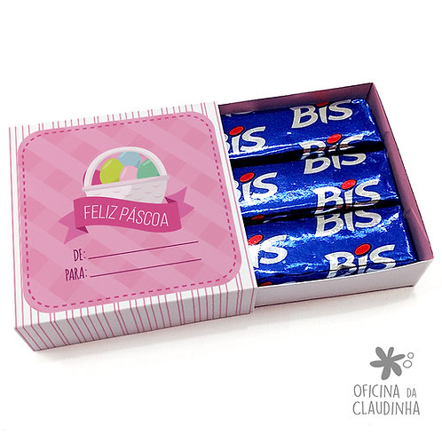 Caixa de Páscoa para 3 Bis - Cesta Rosa De/Para