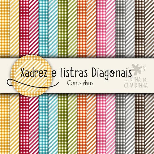 Xadrez e Listras Diagonais - Cores Vivas | Papéis digitais