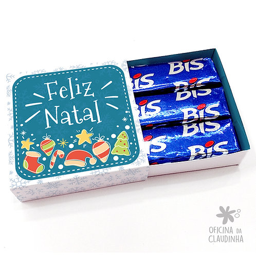 Caixa para 3 Bis - Natal Azul