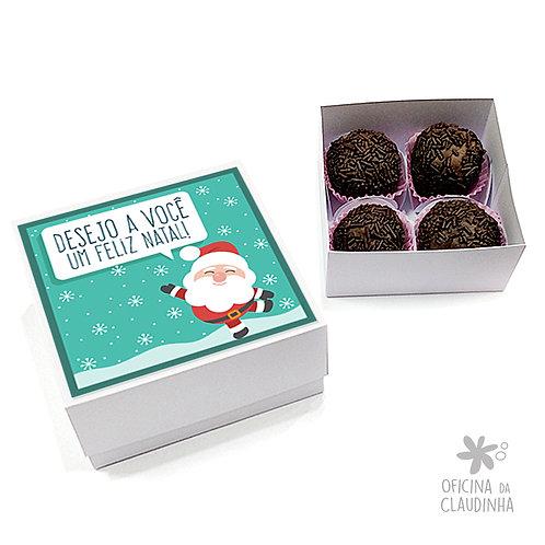 Caixa para 4 doces - Papai Noel Turquesa
