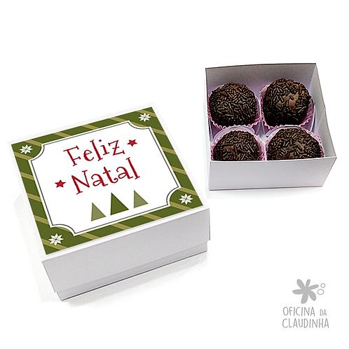 Caixa para 4 doces - Festa de Natal 01 - Tradicional