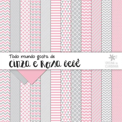Todo mundo ama cinza e rosa bebê | Papéis digitais