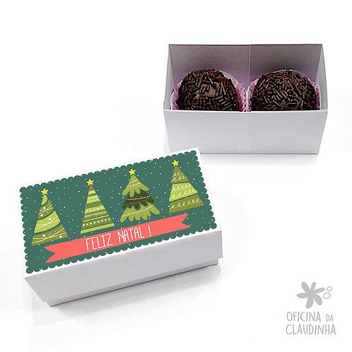 Caixa para 2 doces - Árvores de Natal