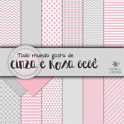 Todo mundo gosta de cinza e rosa bebê | Papéis impressos