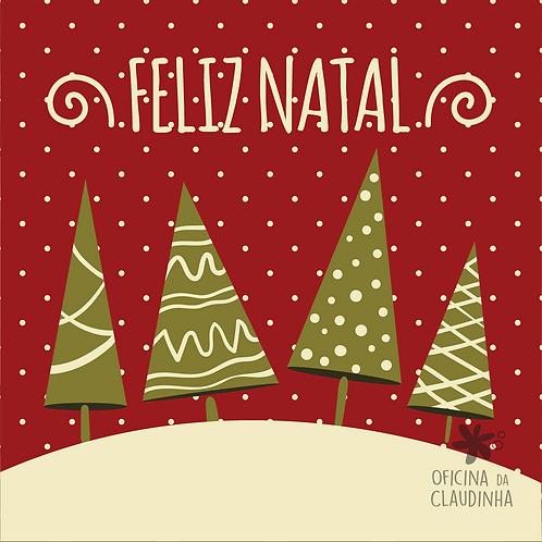 Card Feliz Natal 04 - Vintage Vermelho e Verde