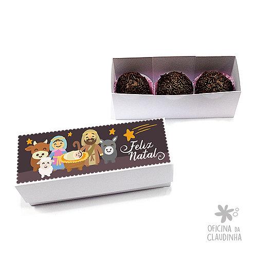 Caixa para 3 doces - Cena Natalina